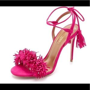 Aquazzura wild thing pink fringe sandals $795 6